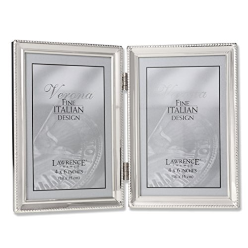 Lawrence Frames Antique Pewter 4×6 Hinged Double Picture Frame ...