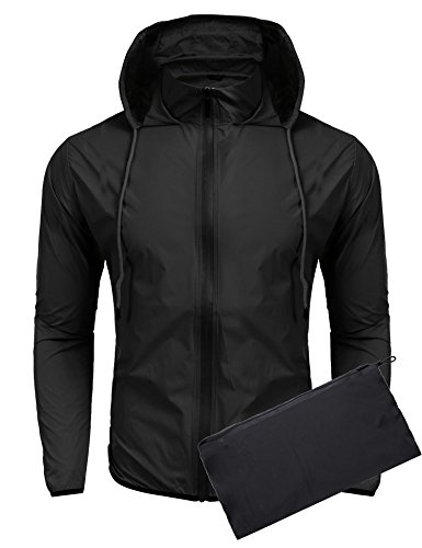85789e818a6 COOFANDY Unisex Lightweight Hooded Running Cycling Rain Jacket Outdoor  Raincoat