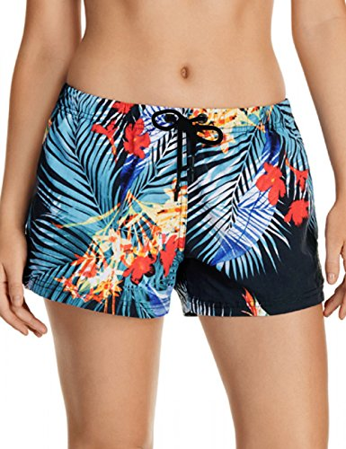 3731748660ed6 Item specific: mid waisted beach shorts for women are available in allover  tropical print and solid black.