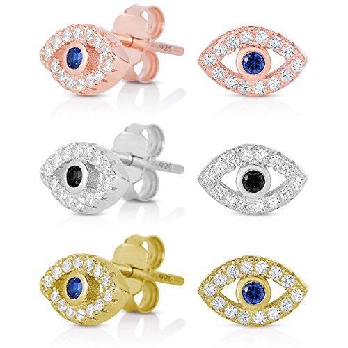 99654339d44f18 925 Sterling Silver Cubic Zirconia with Cobalt Blue Glass Center Stone Mini Evil  Eye Stud Earrings