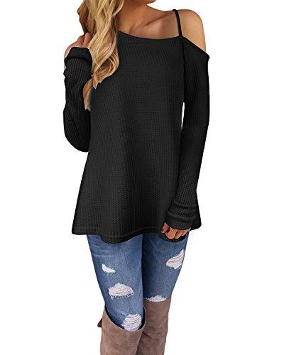 KILIG Women s Long Sleeve Cold Shoulder Knitted Sweater Split Tunic Tops 97e3ebff3