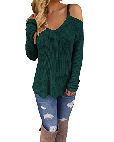 STYLEWORD Women s Off Shoulder Loose Casual Knitted Sweater Top  BlouseGreen 66394e213