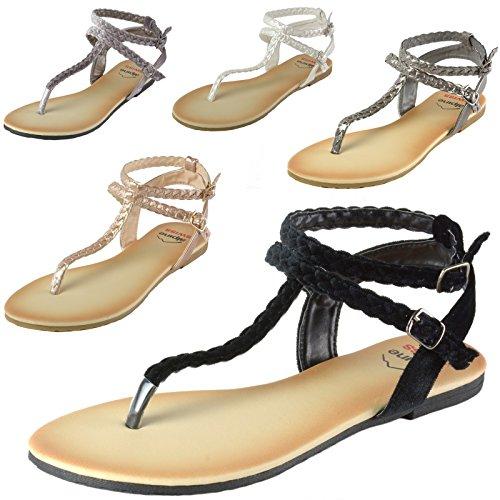 d276a67fc0e1c alpine swiss Women s Gladiator Sandals Braided T-Strap Slingback Roman Flats