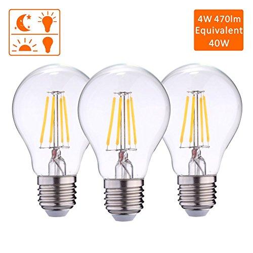 Dusk To Dawn Photocell Sensor Led Lights Bulbs Auto On Off Incandescen Bulb 40w Light For Porch Hallway Patio 4w 470lm Warm White2700k